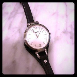 Fossil Georgia Watch-Black/Silver